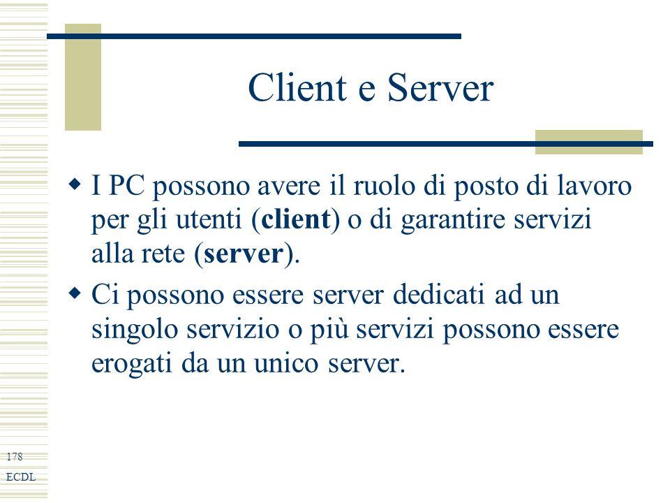 178 ECDL Client e Server I PC possono avere il ruolo di posto di lavoro per gli utenti (client) o di garantire servizi alla rete (server).