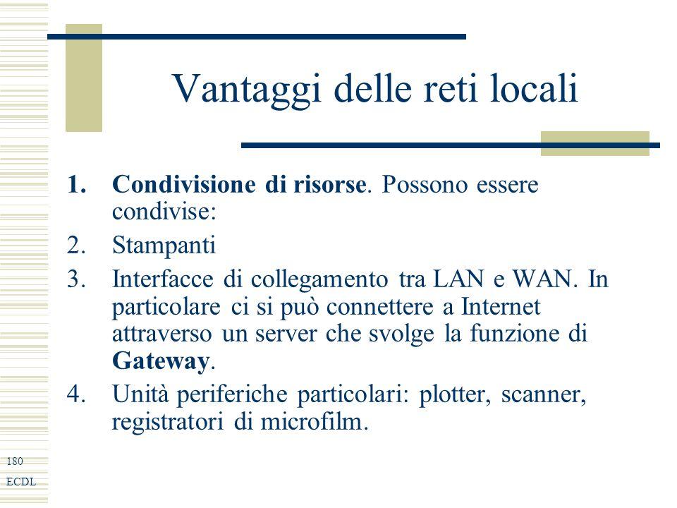 180 ECDL Vantaggi delle reti locali 1.Condivisione di risorse.