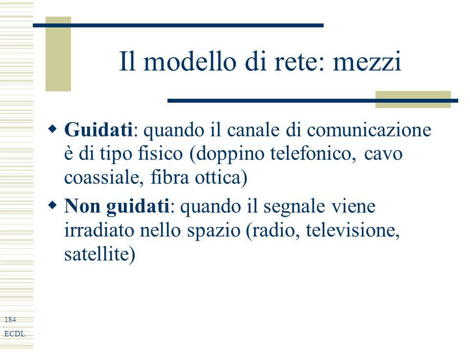 184 ECDL Il modello di rete: mezzi Guidati: quando il canale di comunicazione è di tipo fisico (doppino telefonico, cavo coassiale, fibra ottica) Non guidati: quando il segnale viene irradiato nello spazio (radio, televisione, satellite)