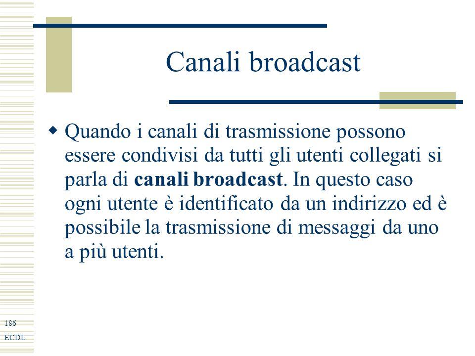 186 ECDL Canali broadcast Quando i canali di trasmissione possono essere condivisi da tutti gli utenti collegati si parla di canali broadcast.