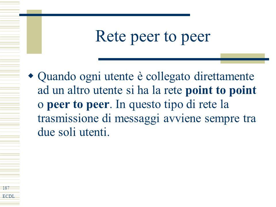 187 ECDL Rete peer to peer Quando ogni utente è collegato direttamente ad un altro utente si ha la rete point to point o peer to peer.
