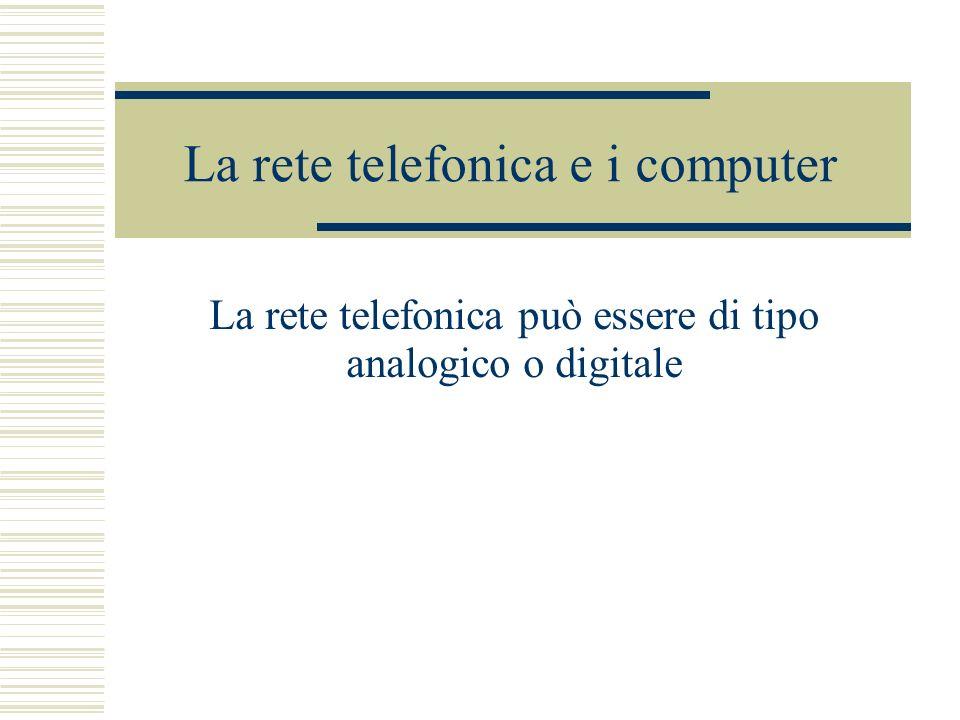 La rete telefonica e i computer La rete telefonica può essere di tipo analogico o digitale