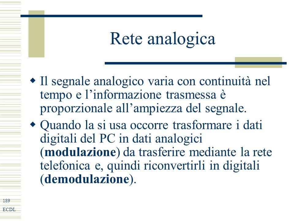 189 ECDL Rete analogica Il segnale analogico varia con continuità nel tempo e linformazione trasmessa è proporzionale allampiezza del segnale.