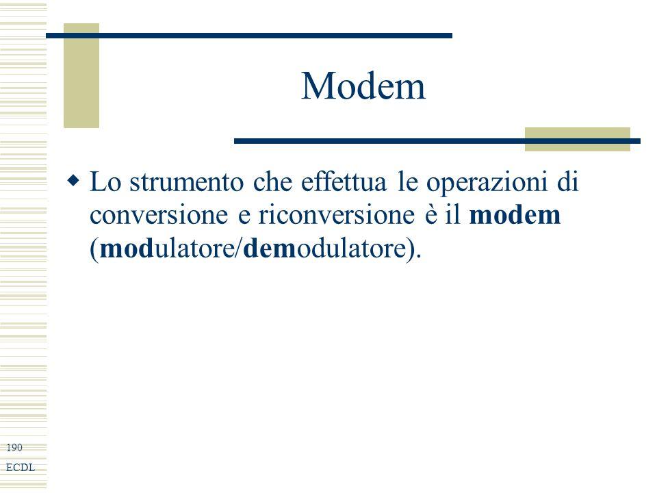 190 ECDL Modem Lo strumento che effettua le operazioni di conversione e riconversione è il modem (modulatore/demodulatore).