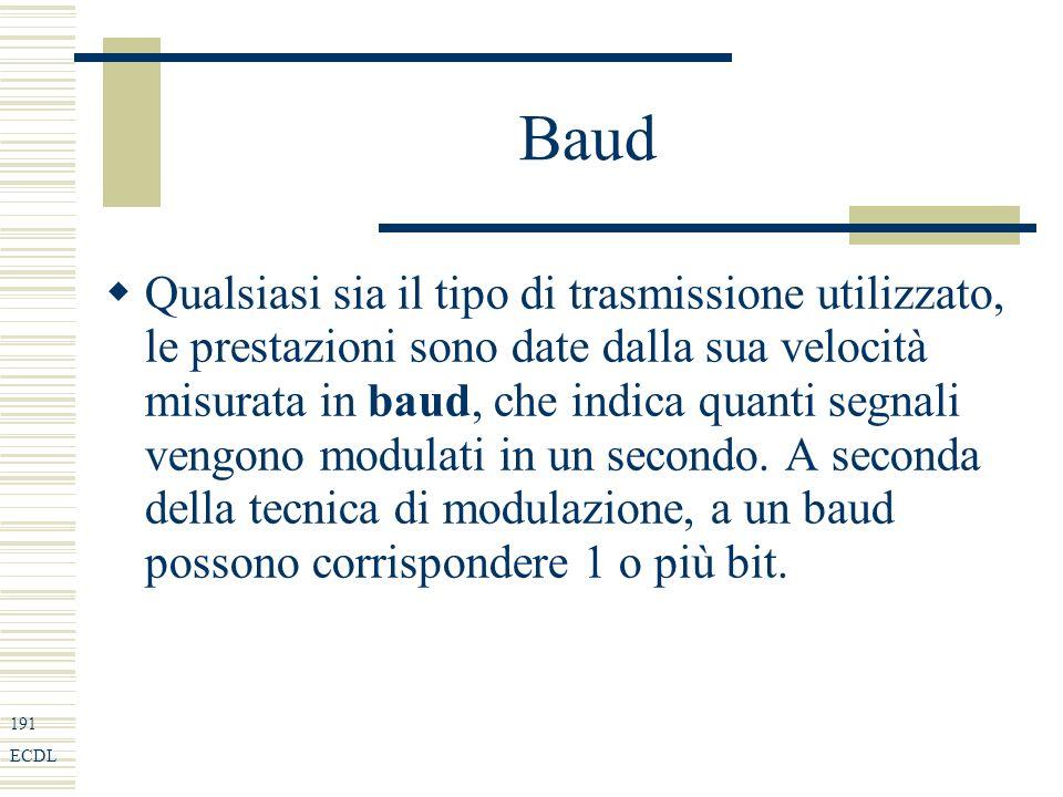 191 ECDL Baud Qualsiasi sia il tipo di trasmissione utilizzato, le prestazioni sono date dalla sua velocità misurata in baud, che indica quanti segnali vengono modulati in un secondo.