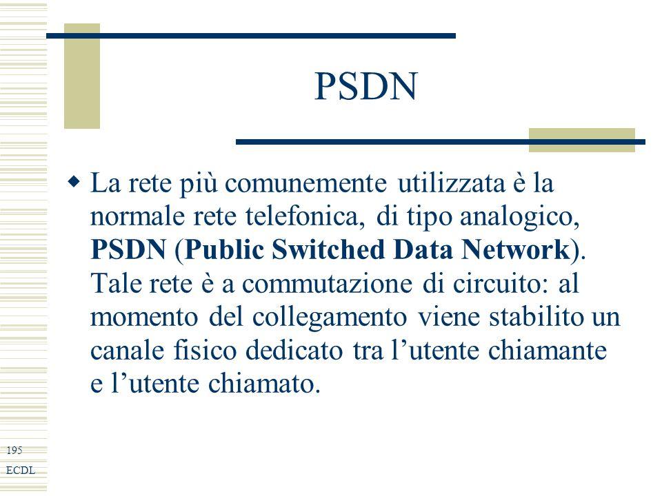 195 ECDL PSDN La rete più comunemente utilizzata è la normale rete telefonica, di tipo analogico, PSDN (Public Switched Data Network).