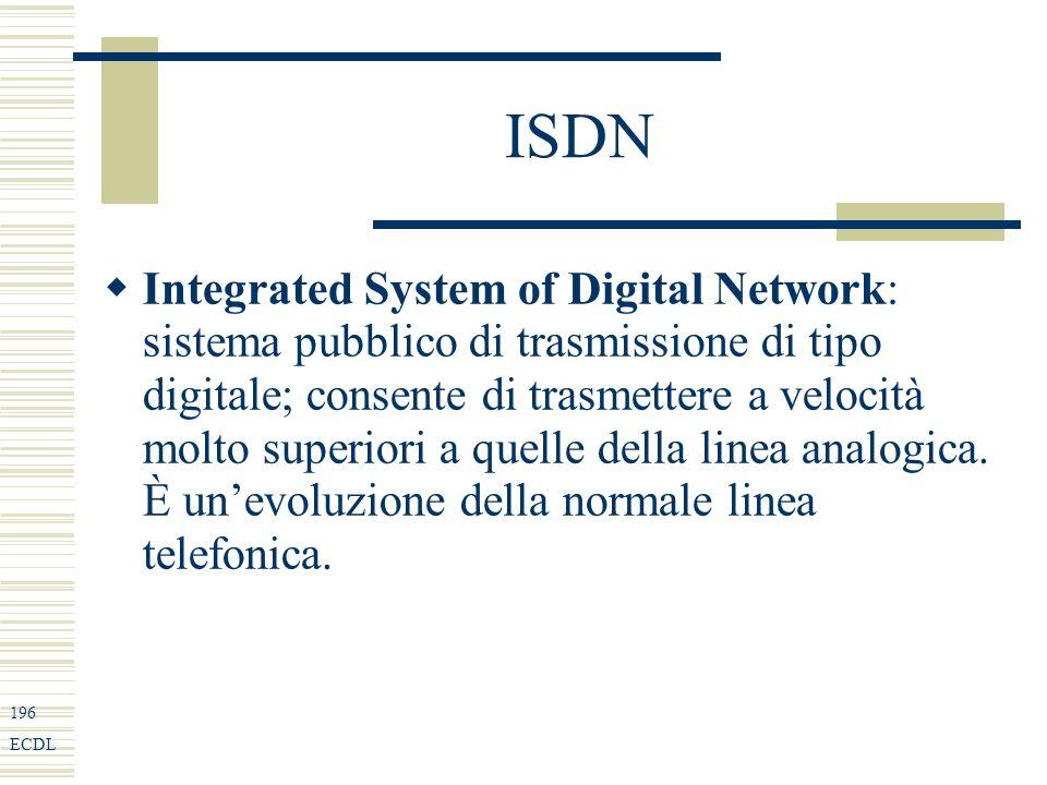 196 ECDL ISDN Integrated System of Digital Network: sistema pubblico di trasmissione di tipo digitale; consente di trasmettere a velocità molto superiori a quelle della linea analogica.