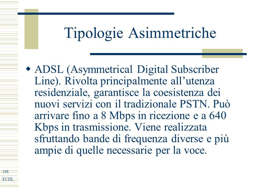 198 ECDL Tipologie Asimmetriche ADSL (Asymmetrical Digital Subscriber Line).