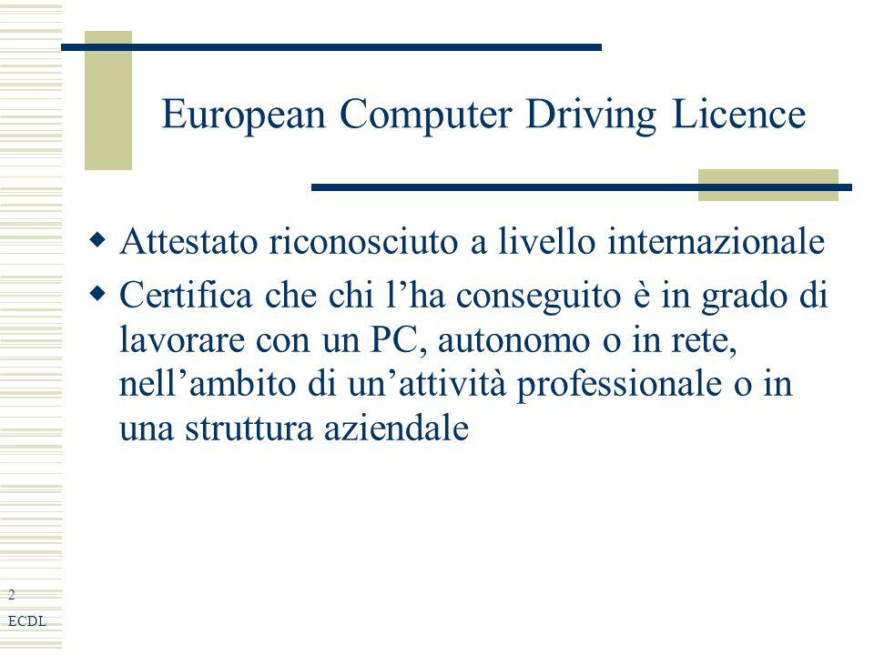 2 ECDL European Computer Driving Licence Attestato riconosciuto a livello internazionale Certifica che chi lha conseguito è in grado di lavorare con un PC, autonomo o in rete, nellambito di unattività professionale o in una struttura aziendale
