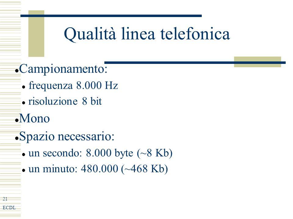 21 ECDL Qualità linea telefonica Campionamento: frequenza 8.000 Hz risoluzione 8 bit Mono Spazio necessario: un secondo: 8.000 byte (~8 Kb) un minuto: 480.000 (~468 Kb)