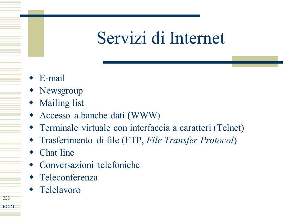 225 ECDL Servizi di Internet E-mail Newsgroup Mailing list Accesso a banche dati (WWW) Terminale virtuale con interfaccia a caratteri (Telnet) Trasferimento di file (FTP, File Transfer Protocol) Chat line Conversazioni telefoniche Teleconferenza Telelavoro