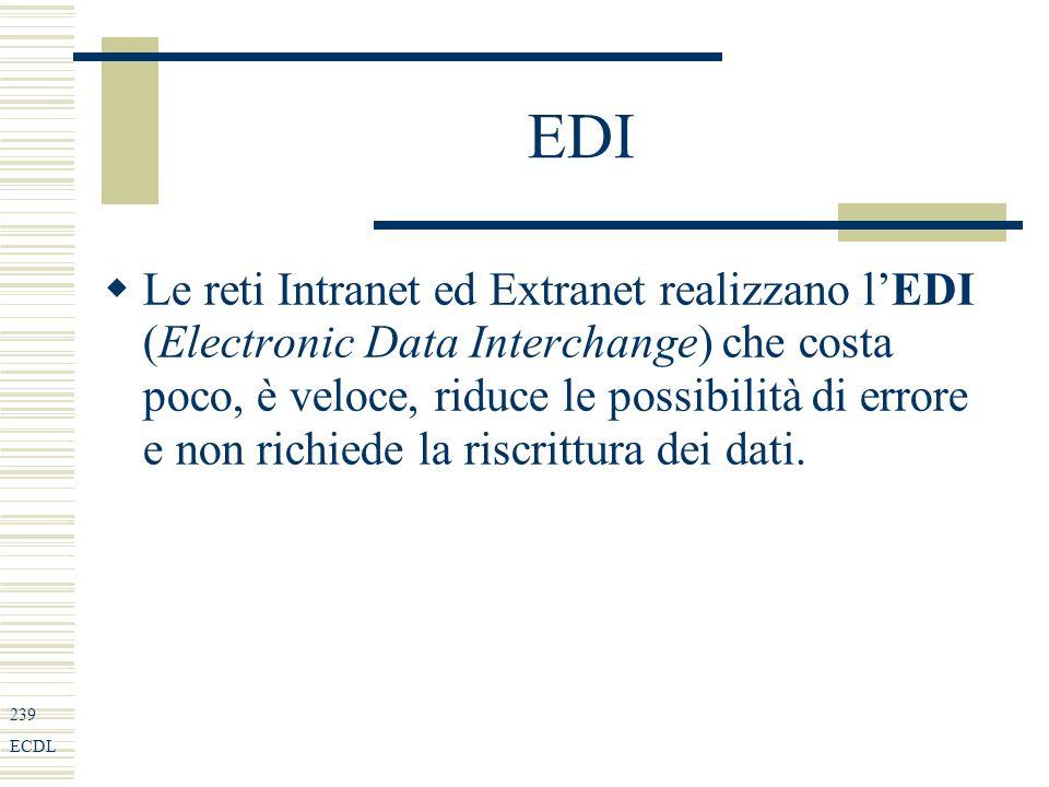 239 ECDL EDI Le reti Intranet ed Extranet realizzano lEDI (Electronic Data Interchange) che costa poco, è veloce, riduce le possibilità di errore e non richiede la riscrittura dei dati.