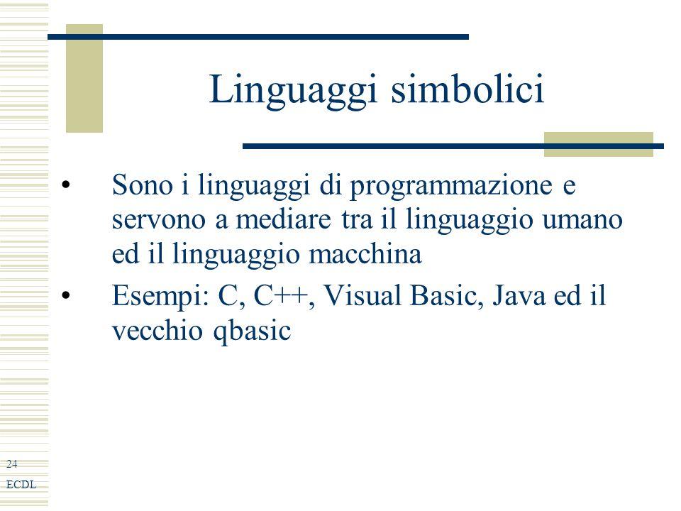 24 ECDL Linguaggi simbolici Sono i linguaggi di programmazione e servono a mediare tra il linguaggio umano ed il linguaggio macchina Esempi: C, C++, Visual Basic, Java ed il vecchio qbasic