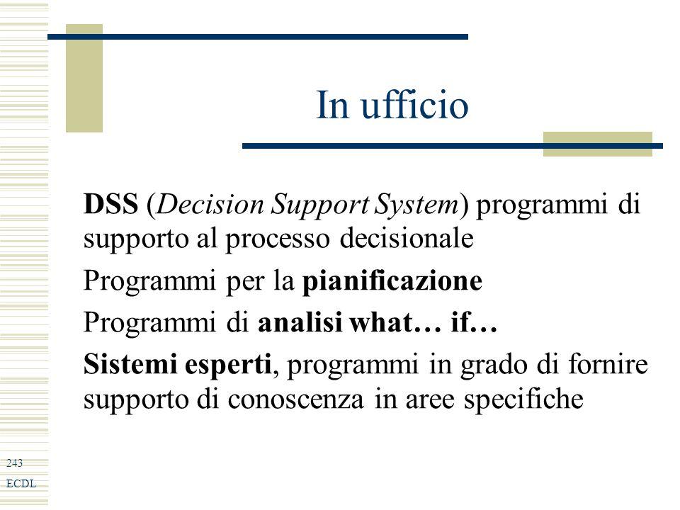 243 ECDL In ufficio DSS (Decision Support System) programmi di supporto al processo decisionale Programmi per la pianificazione Programmi di analisi what… if… Sistemi esperti, programmi in grado di fornire supporto di conoscenza in aree specifiche