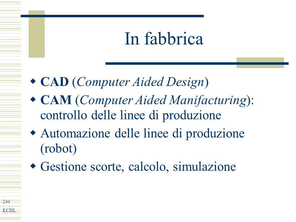 244 ECDL In fabbrica CAD (Computer Aided Design) CAM (Computer Aided Manifacturing): controllo delle linee di produzione Automazione delle linee di produzione (robot) Gestione scorte, calcolo, simulazione