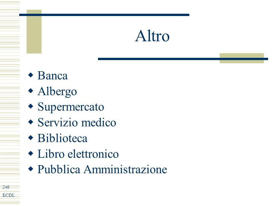 246 ECDL Altro Banca Albergo Supermercato Servizio medico Biblioteca Libro elettronico Pubblica Amministrazione