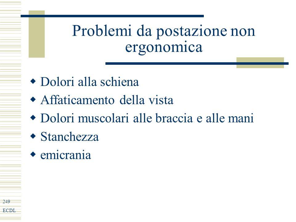 249 ECDL Problemi da postazione non ergonomica Dolori alla schiena Affaticamento della vista Dolori muscolari alle braccia e alle mani Stanchezza emicrania
