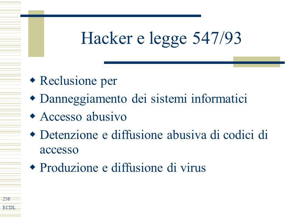 256 ECDL Hacker e legge 547/93 Reclusione per Danneggiamento dei sistemi informatici Accesso abusivo Detenzione e diffusione abusiva di codici di accesso Produzione e diffusione di virus