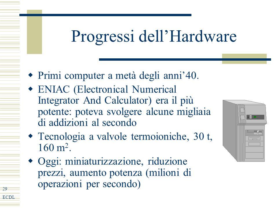29 ECDL Progressi dellHardware Primi computer a metà degli anni40.