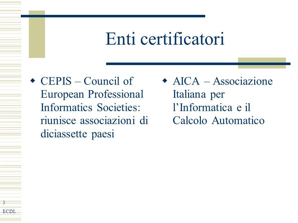 3 ECDL Enti certificatori CEPIS – Council of European Professional Informatics Societies: riunisce associazioni di diciassette paesi AICA – Associazione Italiana per lInformatica e il Calcolo Automatico