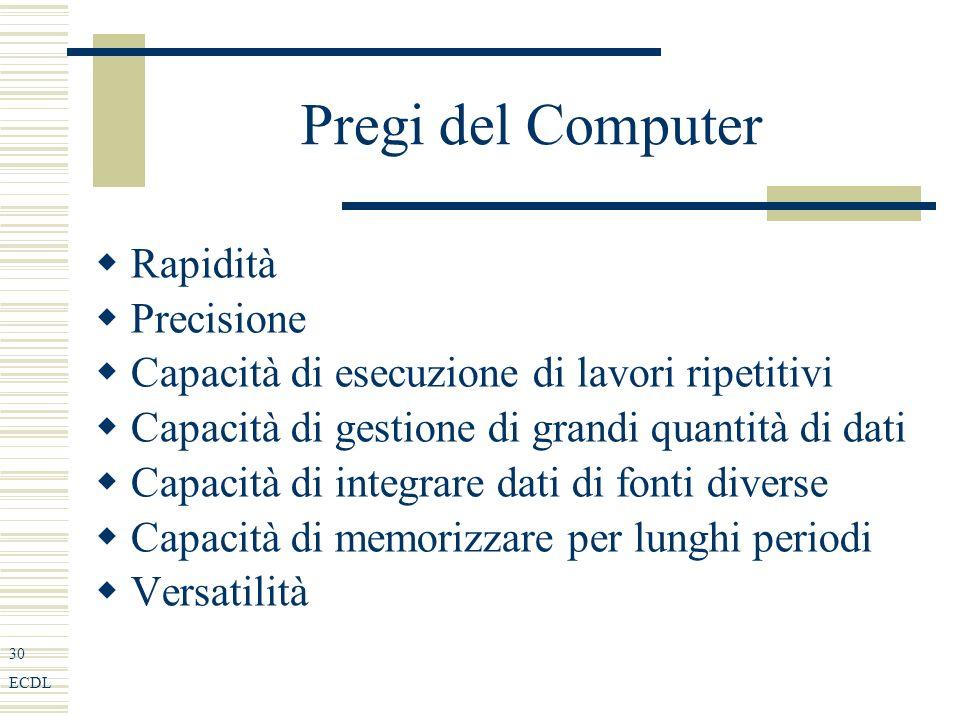 30 ECDL Pregi del Computer Rapidità Precisione Capacità di esecuzione di lavori ripetitivi Capacità di gestione di grandi quantità di dati Capacità di integrare dati di fonti diverse Capacità di memorizzare per lunghi periodi Versatilità