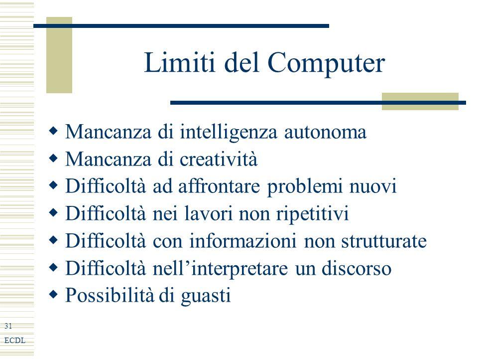 31 ECDL Limiti del Computer Mancanza di intelligenza autonoma Mancanza di creatività Difficoltà ad affrontare problemi nuovi Difficoltà nei lavori non ripetitivi Difficoltà con informazioni non strutturate Difficoltà nellinterpretare un discorso Possibilità di guasti