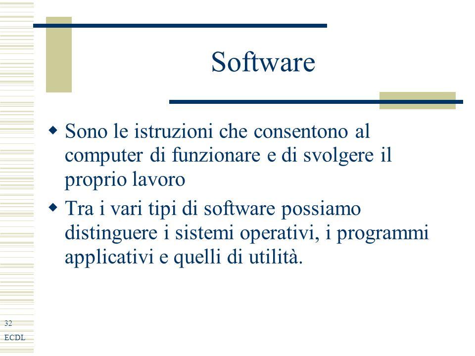 32 ECDL Software Sono le istruzioni che consentono al computer di funzionare e di svolgere il proprio lavoro Tra i vari tipi di software possiamo distinguere i sistemi operativi, i programmi applicativi e quelli di utilità.