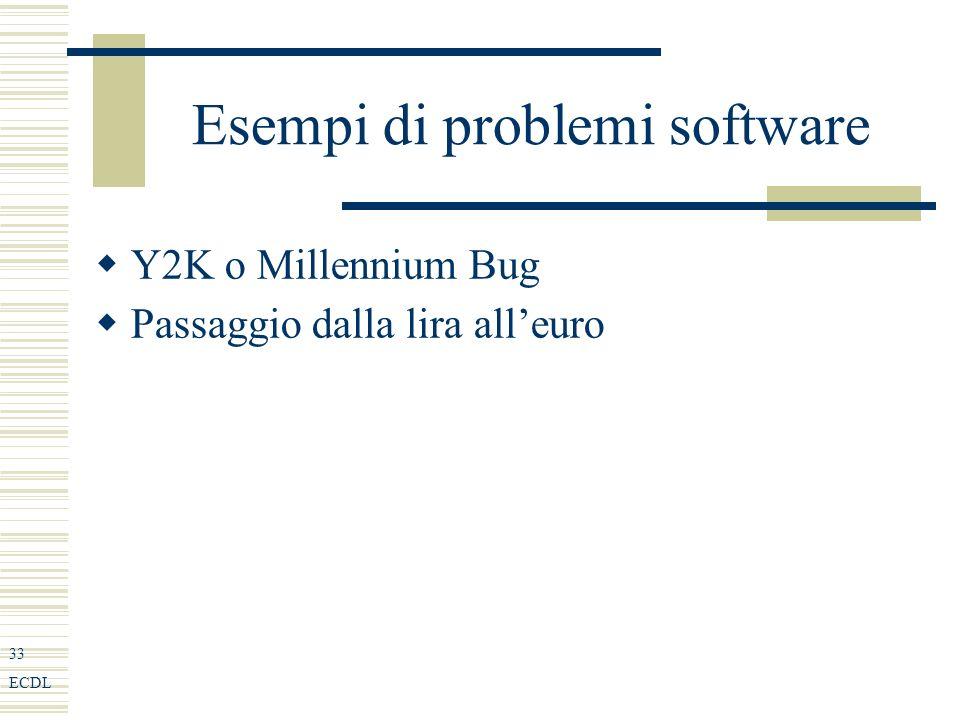 33 ECDL Esempi di problemi software Y2K o Millennium Bug Passaggio dalla lira alleuro