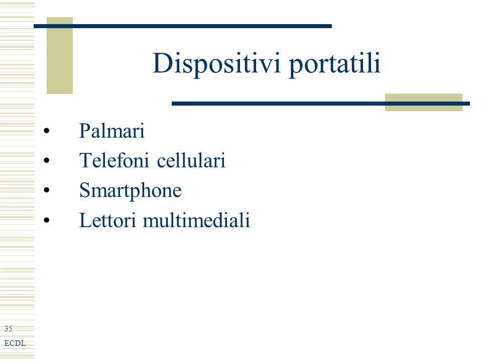 35 ECDL Dispositivi portatili Palmari Telefoni cellulari Smartphone Lettori multimediali