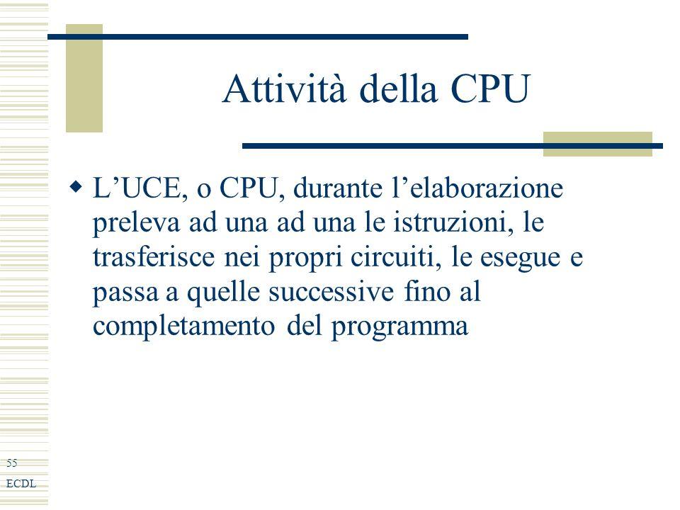 55 ECDL Attività della CPU LUCE, o CPU, durante lelaborazione preleva ad una ad una le istruzioni, le trasferisce nei propri circuiti, le esegue e passa a quelle successive fino al completamento del programma