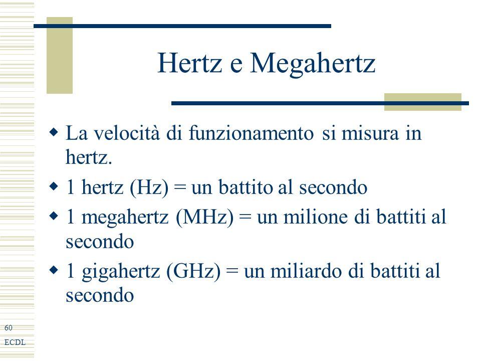 60 ECDL Hertz e Megahertz La velocità di funzionamento si misura in hertz.