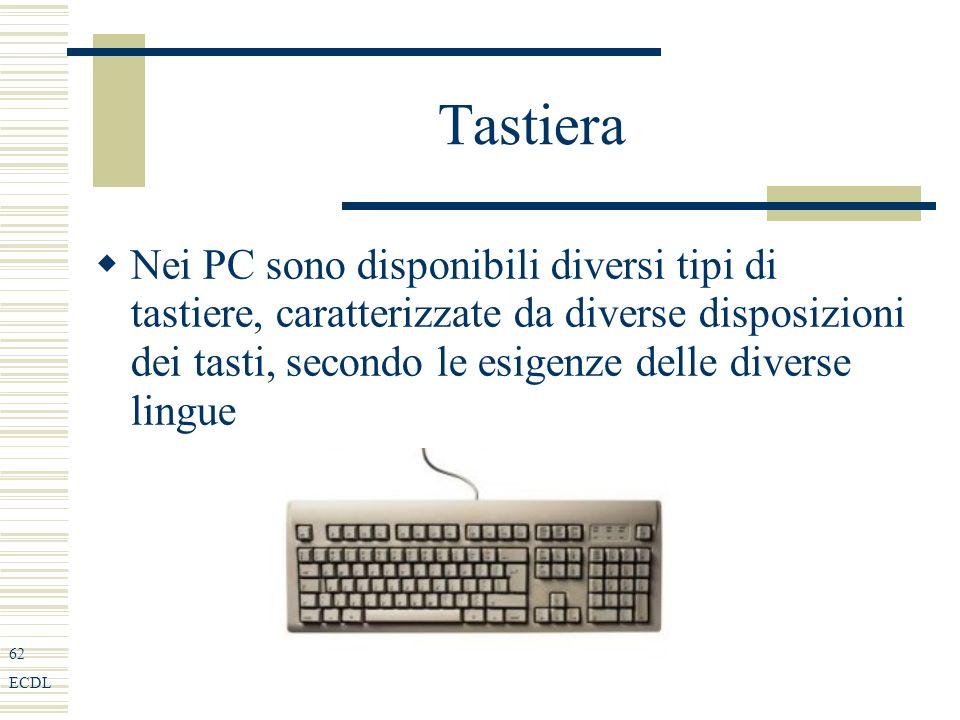 62 ECDL Tastiera Nei PC sono disponibili diversi tipi di tastiere, caratterizzate da diverse disposizioni dei tasti, secondo le esigenze delle diverse lingue