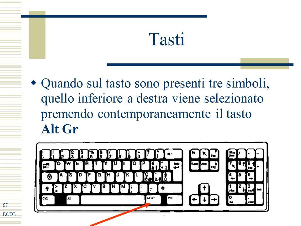 67 ECDL Tasti Quando sul tasto sono presenti tre simboli, quello inferiore a destra viene selezionato premendo contemporaneamente il tasto Alt Gr