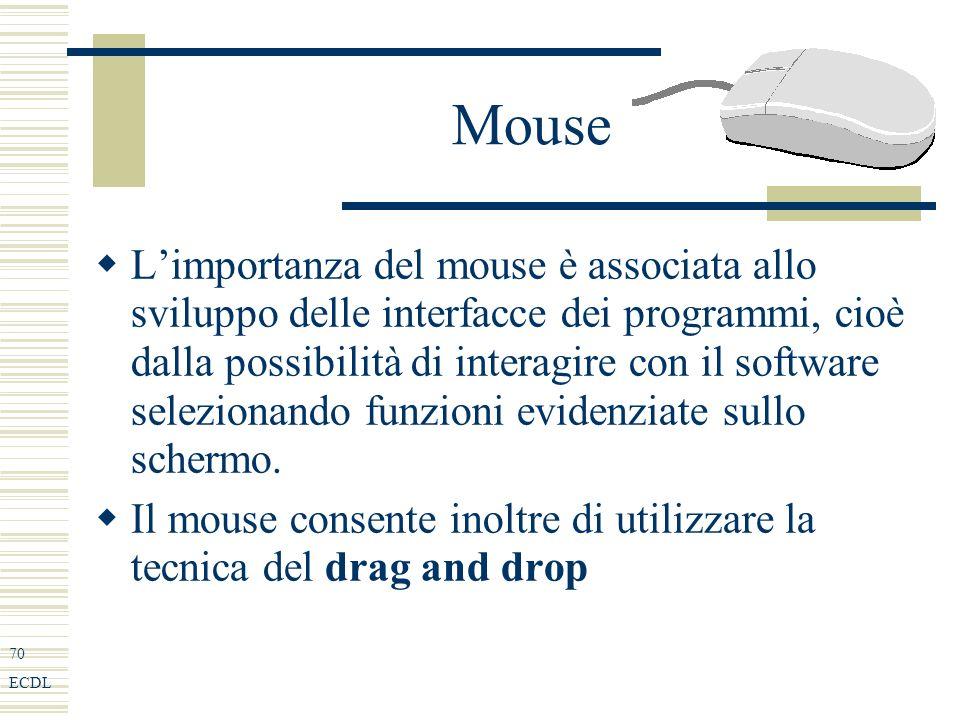70 ECDL Mouse Limportanza del mouse è associata allo sviluppo delle interfacce dei programmi, cioè dalla possibilità di interagire con il software selezionando funzioni evidenziate sullo schermo.
