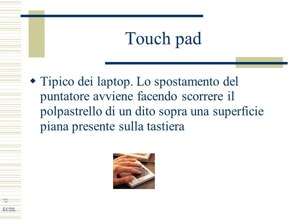 72 ECDL Touch pad Tipico dei laptop.