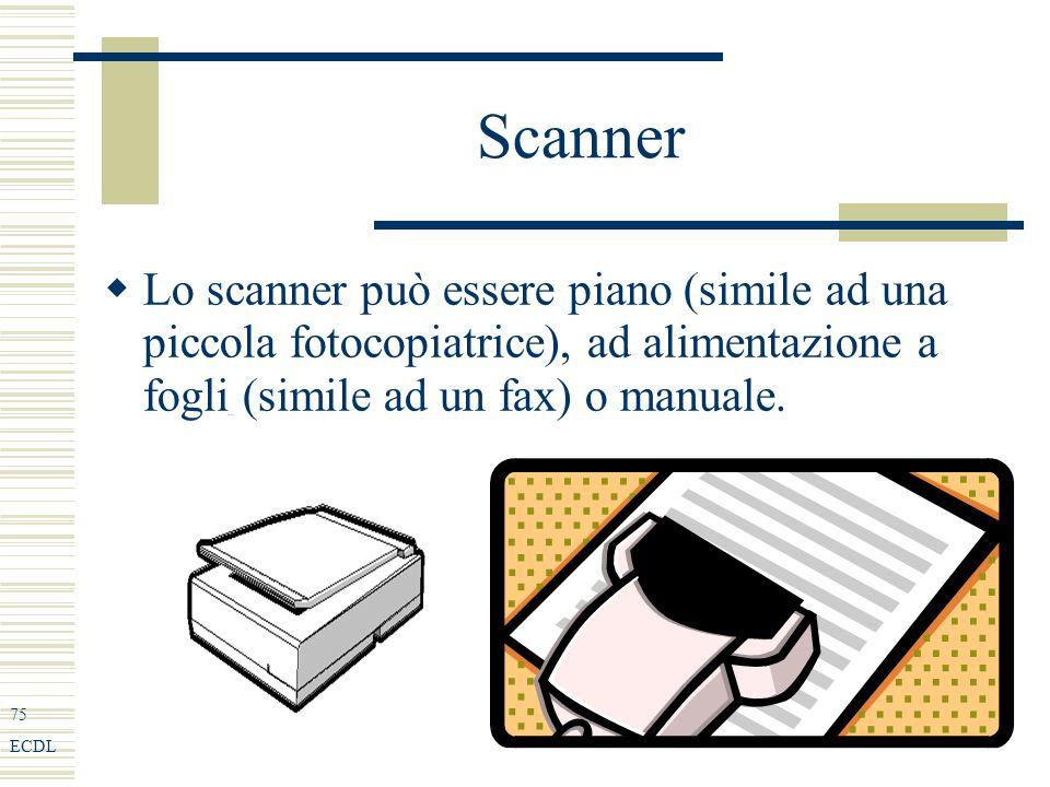 75 ECDL Scanner Lo scanner può essere piano (simile ad una piccola fotocopiatrice), ad alimentazione a fogli (simile ad un fax) o manuale.