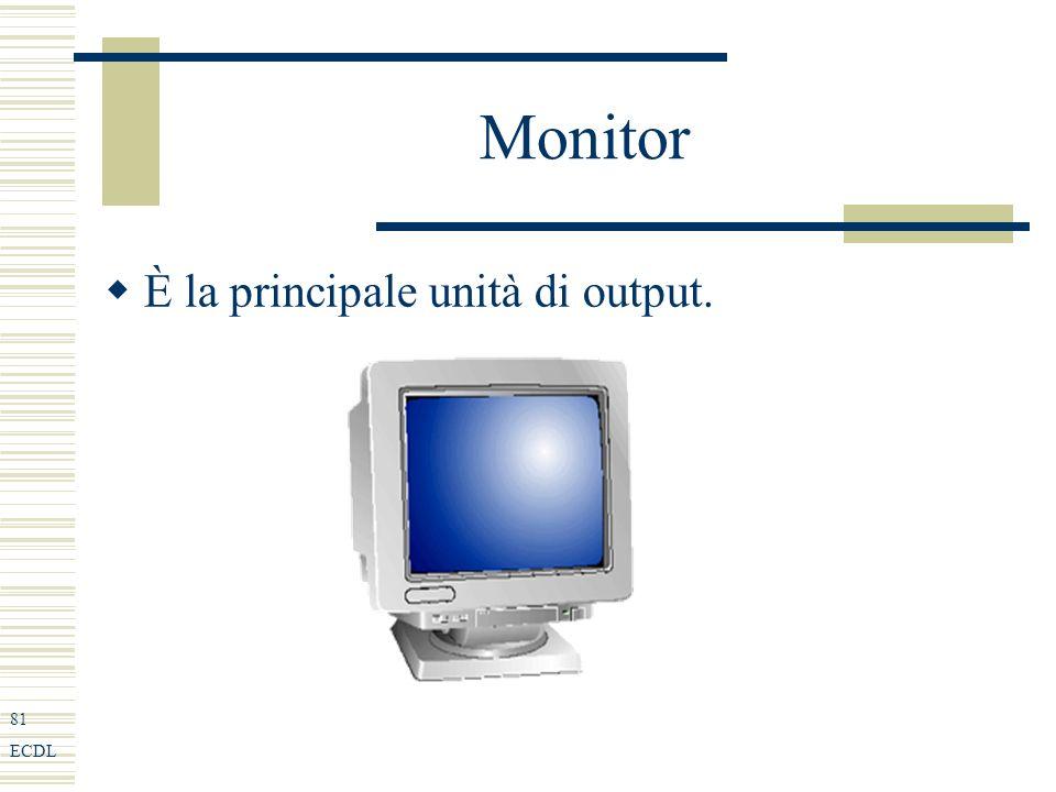 81 ECDL Monitor È la principale unità di output.