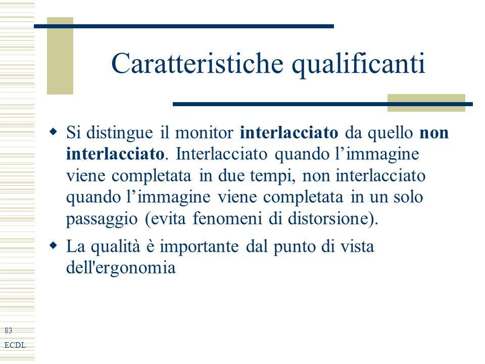 83 ECDL Caratteristiche qualificanti Si distingue il monitor interlacciato da quello non interlacciato.