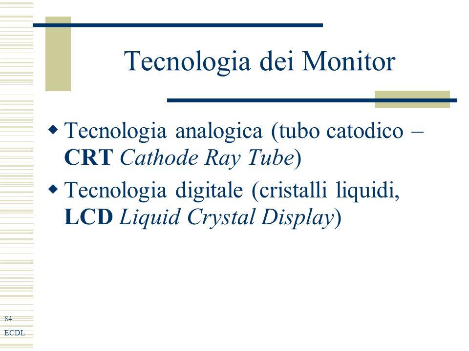 84 ECDL Tecnologia dei Monitor Tecnologia analogica (tubo catodico – CRT Cathode Ray Tube) Tecnologia digitale (cristalli liquidi, LCD Liquid Crystal Display)
