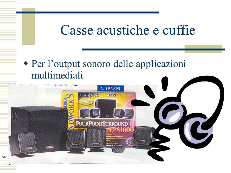 90 ECDL Casse acustiche e cuffie Per loutput sonoro delle applicazioni multimediali