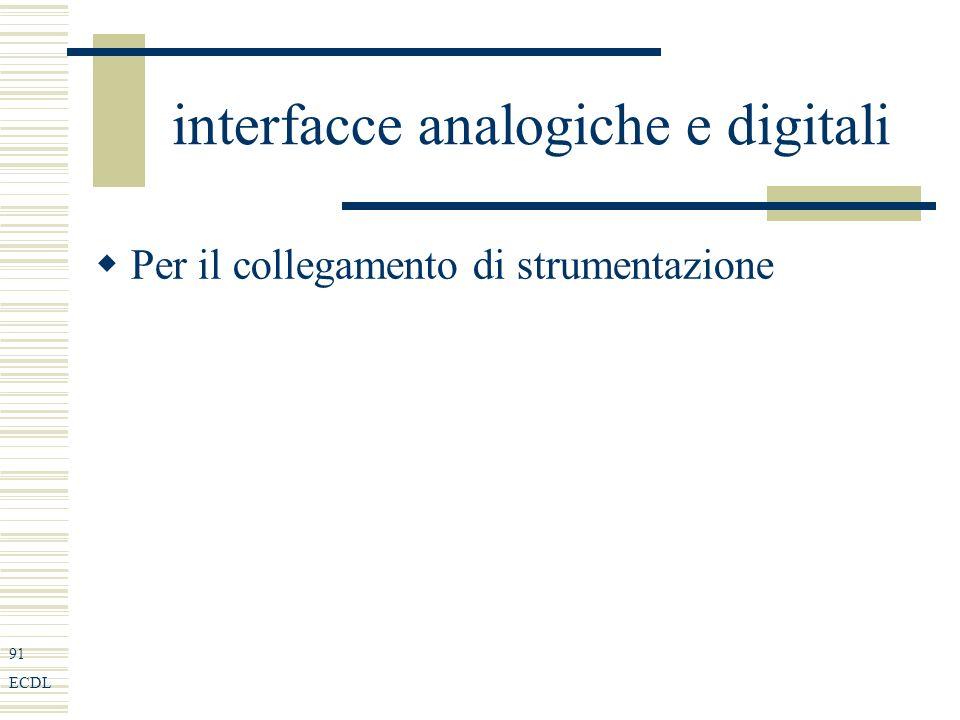 91 ECDL interfacce analogiche e digitali Per il collegamento di strumentazione