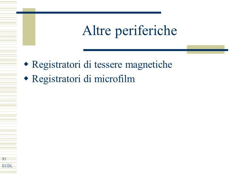 93 ECDL Altre periferiche Registratori di tessere magnetiche Registratori di microfilm
