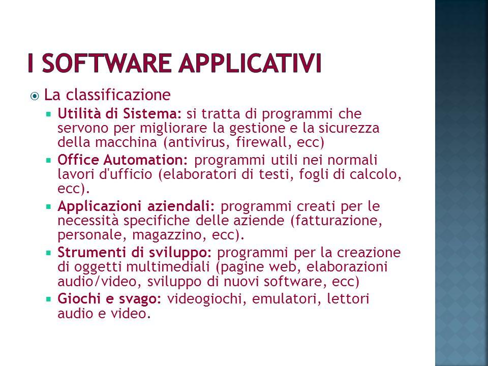 La classificazione Utilità di Sistema: si tratta di programmi che servono per migliorare la gestione e la sicurezza della macchina (antivirus, firewal