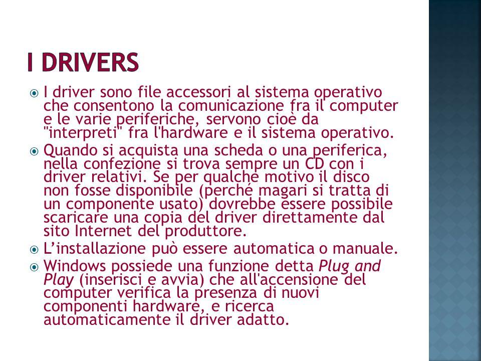 I driver sono file accessori al sistema operativo che consentono la comunicazione fra il computer e le varie periferiche, servono cioè da