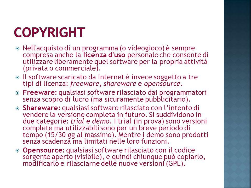 Nell'acquisto di un programma (o videogioco) è sempre compresa anche la licenza d'uso personale che consente di utilizzare liberamente quel software p