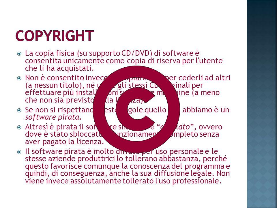 La copia fisica (su supporto CD/DVD) di software è consentita unicamente come copia di riserva per l'utente che li ha acquistati. Non è consentito inv