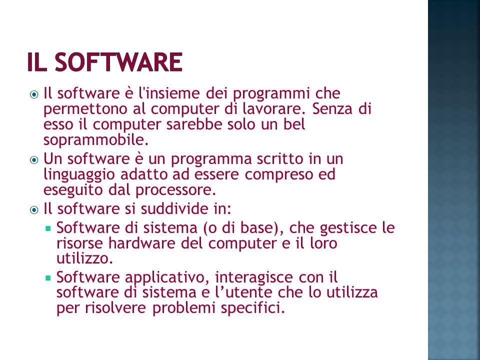 Il software è l'insieme dei programmi che permettono al computer di lavorare. Senza di esso il computer sarebbe solo un bel soprammobile. Un software