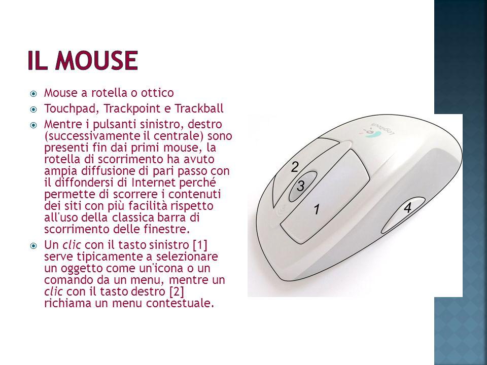 Mouse a rotella o ottico Touchpad, Trackpoint e Trackball Mentre i pulsanti sinistro, destro (successivamente il centrale) sono presenti fin dai primi