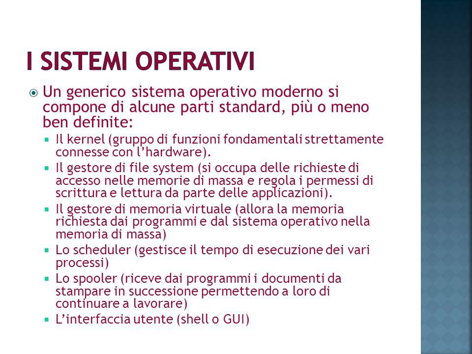 Un generico sistema operativo moderno si compone di alcune parti standard, più o meno ben definite: Il kernel (gruppo di funzioni fondamentali stretta