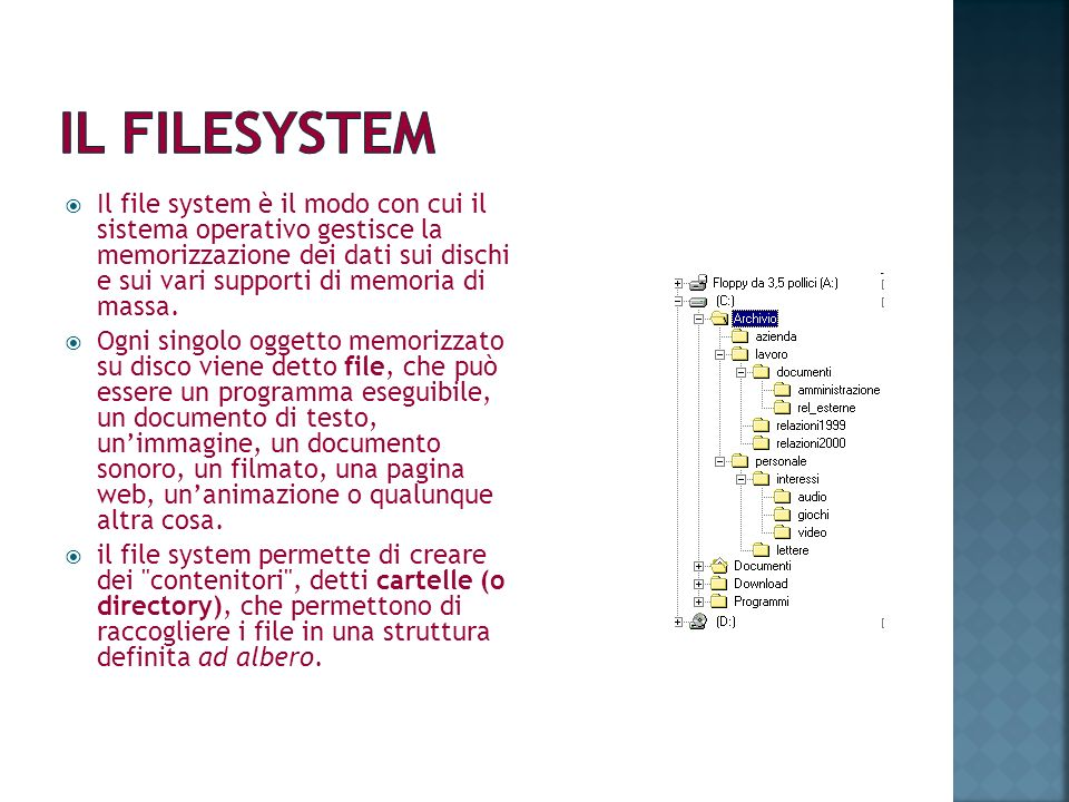 Il file system è il modo con cui il sistema operativo gestisce la memorizzazione dei dati sui dischi e sui vari supporti di memoria di massa. Ogni sin
